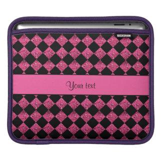 Stylish Black & Hot Pink Glitter Checkers iPad Sleeves