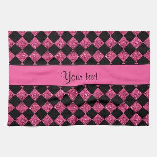 Stylish Black & Hot Pink Glitter Checkers Kitchen Towel
