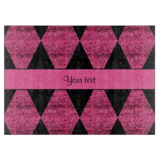 Stylish Black & Hot Pink Glitter Diamonds Cutting Board