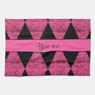 Stylish Black & Hot Pink Glitter Diamonds Hand Towels