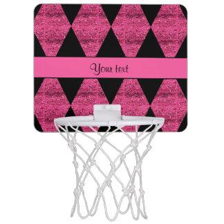 Stylish Black & Hot Pink Glitter Diamonds Mini Basketball Hoop