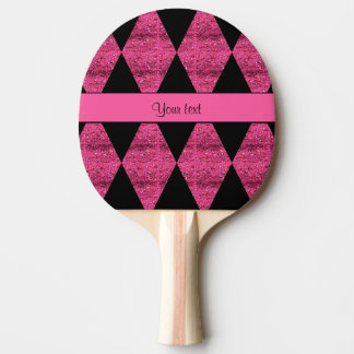 Stylish Black & Hot Pink Glitter Diamonds Ping Pong Paddle