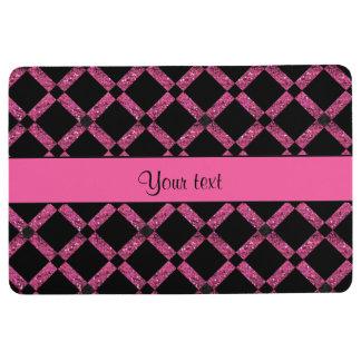 Stylish Black & Hot Pink Glitter Squares Floor Mat