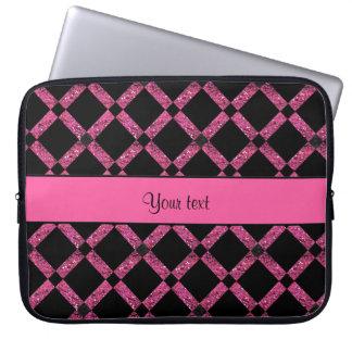 Stylish Black & Hot Pink Glitter Squares Laptop Sleeve