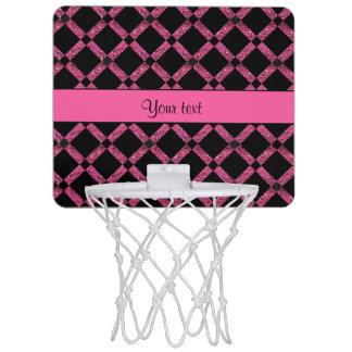 Stylish Black & Hot Pink Glitter Squares Mini Basketball Hoop