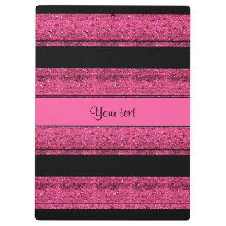 Stylish Black & Hot Pink Glitter Stripes Clipboards