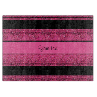 Stylish Black & Hot Pink Glitter Stripes Cutting Board