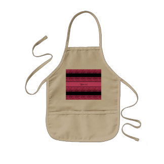 Stylish Black & Hot Pink Glitter Stripes Kids Apron