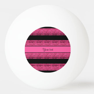 Stylish Black & Hot Pink Glitter Stripes Ping Pong Ball