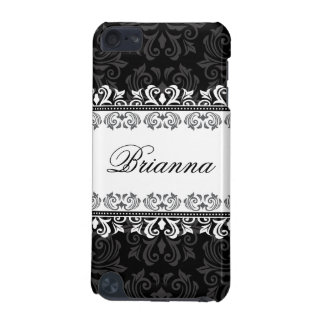 Stylish black lace damask ipod touch case