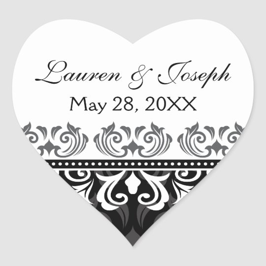 Stylish black lace damask wedding stickers