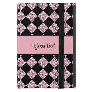 Stylish Black & Lilac Glitter Checkers Cover For iPad Mini