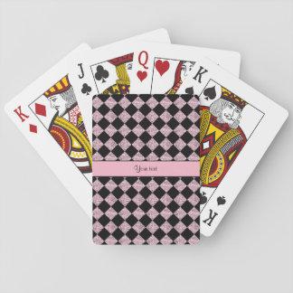 Stylish Black & Lilac Glitter Checkers Poker Deck