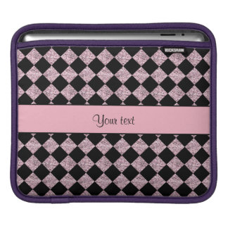 Stylish Black & Lilac Glitter Checkers Sleeve For iPads