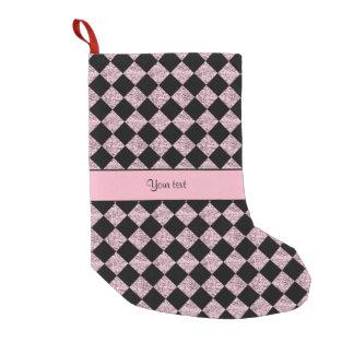 Stylish Black & Lilac Glitter Checkers Small Christmas Stocking
