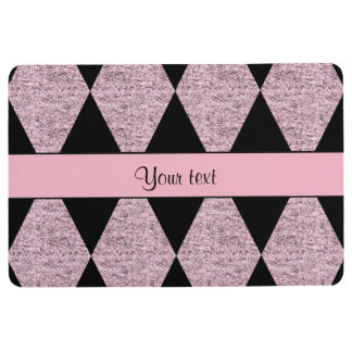 Stylish Black & Lilac Glitter Diamonds Floor Mat