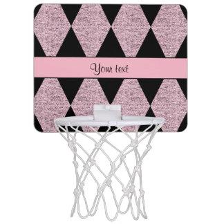 Stylish Black & Lilac Glitter Diamonds Mini Basketball Hoop