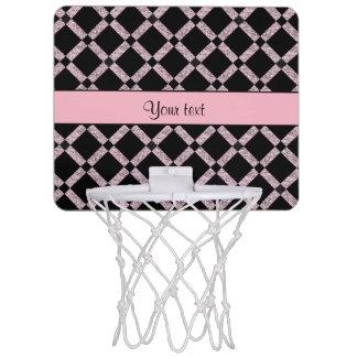 Stylish Black & Lilac Glitter Squares Mini Basketball Hoop