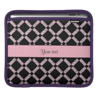 Stylish Black & Lilac Glitter Squares Sleeve For iPads