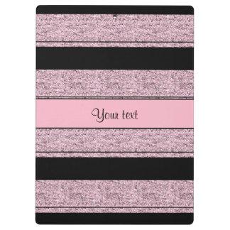 Stylish Black & Lilac Glitter Stripes Clipboard