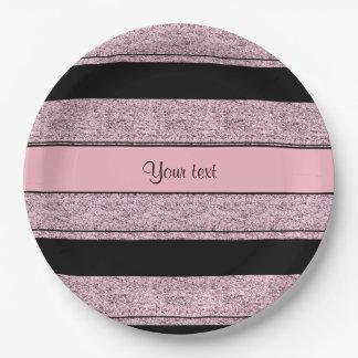Stylish Black & Lilac Glitter Stripes Paper Plate