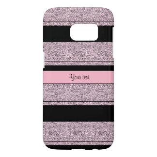 Stylish Black & Lilac Glitter Stripes Samsung Galaxy S7 Case