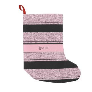 Stylish Black & Lilac Glitter Stripes Small Christmas Stocking