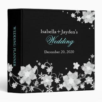 Stylish Black n White Winter Wedding Planner Vinyl Binders