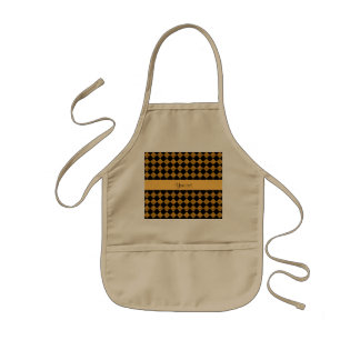 Stylish Black & Orange Glitter Checkers Kids Apron