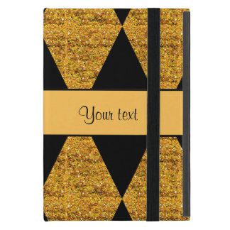 Stylish Black & Orange Glitter Diamonds Case For iPad Mini