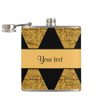 Stylish Black & Orange Glitter Diamonds Flask