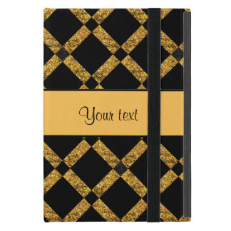 Stylish Black & Orange Glitter Squares iPad Mini Cover