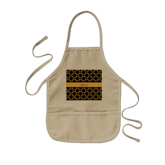 Stylish Black & Orange Glitter Squares Kids Apron