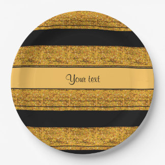 Stylish Black & Orange Glitter Stripes 9 Inch Paper Plate