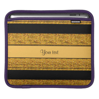 Stylish Black & Orange Glitter Stripes Sleeve For iPads