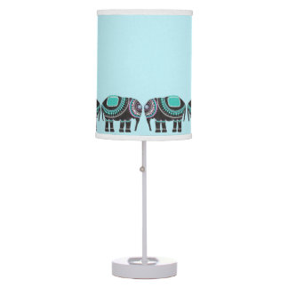 Stylish Black Ornate Elephants,Turquoise Modern Table Lamp