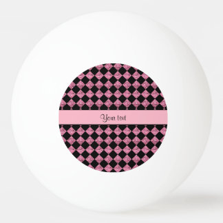Stylish Black & Pink Glitter Checkers Ping Pong Ball