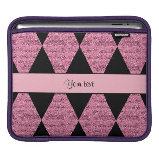 Stylish Black & Pink Glitter Diamonds iPad Sleeve