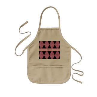 Stylish Black & Pink Glitter Diamonds Kids Apron