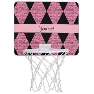 Stylish Black & Pink Glitter Diamonds Mini Basketball Hoop