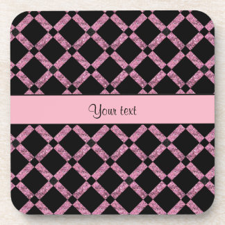 Stylish Black & Pink Glitter Squares Coaster