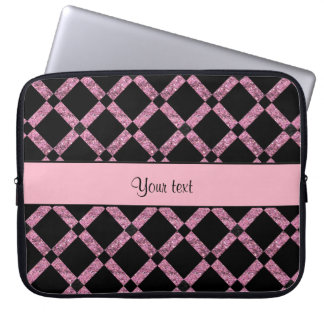 Stylish Black & Pink Glitter Squares Laptop Sleeve
