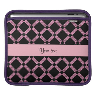 Stylish Black & Pink Glitter Squares Sleeves For iPads