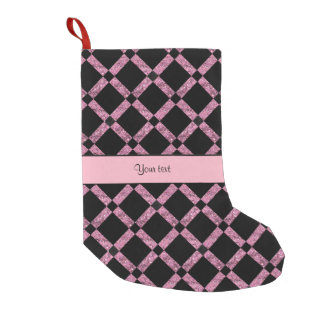 Stylish Black & Pink Glitter Squares Small Christmas Stocking