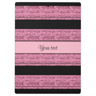 Stylish Black & Pink Glitter Stripes Clipboards