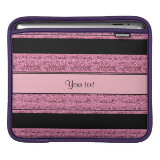 Stylish Black & Pink Glitter Stripes iPad Sleeve