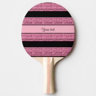 Stylish Black & Pink Glitter Stripes Ping Pong Paddle