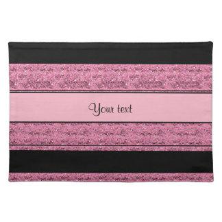 Stylish Black & Pink Glitter Stripes Placemat
