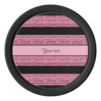 Stylish Black & Pink Glitter Stripes Poker Chips