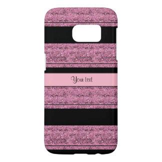 Stylish Black & Pink Glitter Stripes Samsung Galaxy S7 Case